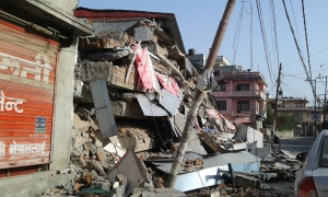 A collapsed college building that was empty on the day of the earthquake.