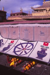 Prayers and teachings on the Jokhang roof 1990s