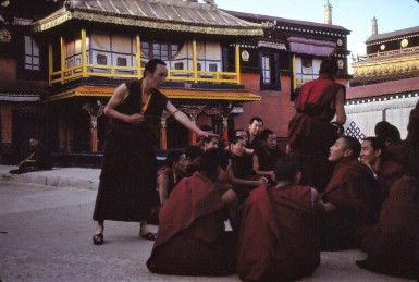 Monks debating on the Jokhang roof 1990s